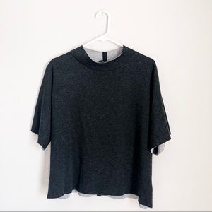 ZARA grey cut-off mock-neck boxy sweatshirt